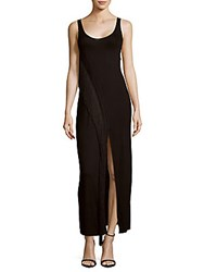 Haute Hippie Solid Fringed Tank Gown Black