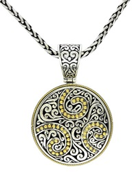 Effy Balissima Sterling Silver And 18 Kt. Yellow Gold Filigree Circle Pendant
