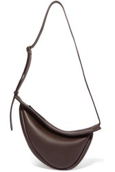 The Row Slouchy Banana Small Textured Leather Shoulder Bag Brown