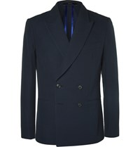 Paul Smith Navy Soho Slim Fit Double Breasted Seersucker Blazer Blue