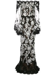 Marchesa Sheer Lace Evening Dress 60