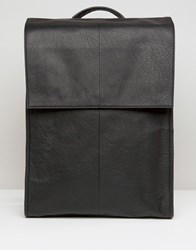 Asos Leather Backpack With Foldover Top Black