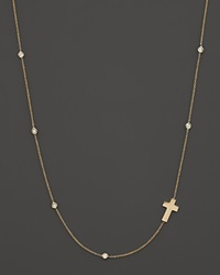 Roberto Coin 18K Yellow Gold Sideways Cross Necklace With Diamond Bezel Stations 16