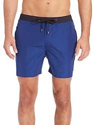Michael Kors Elastic Waist Swim Trunks Cobalt