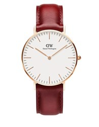 Daniel Wellington Classic Suffolk 23K Rose Gold Plated Watch Red