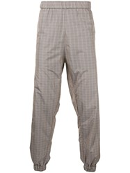 Astrid Andersen Checked Jogging Trousers Men Polyester L Brown