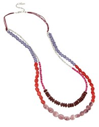 Kenneth Cole Mixed Berry Faceted Bead Two Row Necklace Red