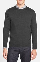 Men's Nordstrom Cotton And Cashmere Crewneck Sweater Grey Dark Charcoal Heather