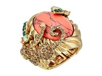 Betsey Johnson Tropical Pave Monkey Semiprecious Stone Stretch Ring Multi Ring