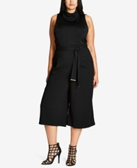 City Chic Trendy Plus Size Belted Culottes Black