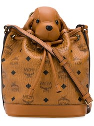 Mcm Small Visetos Leather Zoo Crossbody Bag Brown