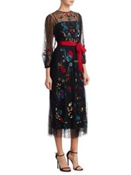 Red Valentino Sequined Mesh Long Sleeves Gown Black