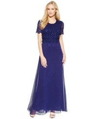 R And M Richards Petite Lace Popover Maxi Dress Navy