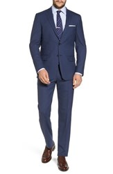 Hart Schaffner Marx Big And Tall New York Classic Fit Check Wool Suit Navy