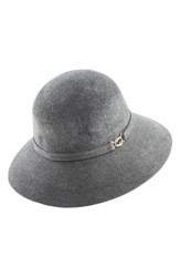 Helen Kaminski Genuine Rabbit Fur Felt Cloche Grey Granite Melange