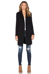 James Perse Brushed Fleece Wrap Coat Black