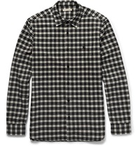 Burberry Slim Fit Checked Cotton Flannel Shirt Gray