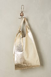 Anthropologie Reversible Pleated Leather Tote Gold