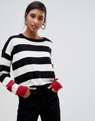 Brave Soul Bolt Stripe Sweater With Contrast Cuffs Pink