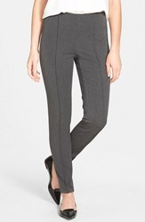 Petite Women's Vince Camuto Side Zip Skinny Pants Dark Heather Grey