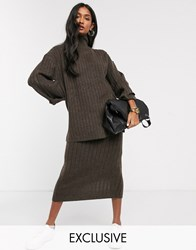 Micha Lounge High Neck Jumper With Side Splits In Rib Knit Co Ord Brown