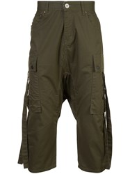 Mostly Heard Rarely Seen Cropped Cargo Trousers Cotton Green