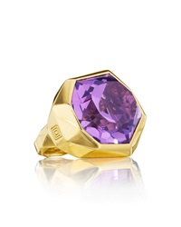 Mimi So Faceted Burnished Set Amethyst Ring Size 6.25