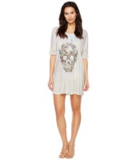 Religion Stand Out Dress Skull Illusion Print Women's Dress White