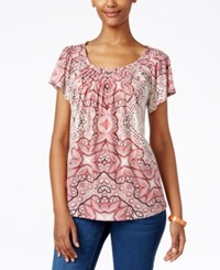 Styleandco. Style Co. Printed Pleat Neck Top Only At Macy's Divine Med