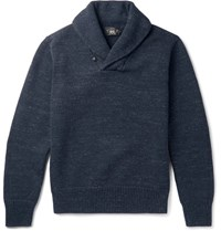 Rrl Shawl Collar Melange Cotton Sweater Storm Blue