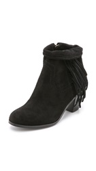 Sam Edelman Louie Suede Fringe Booties Black