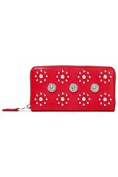 Versus By Versace Woman Studded Crystal Embellished Textured Leather Continental Wallet Red