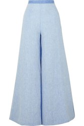 Miguelina Pamela Two Tone Linen Chambray Wide Leg Pants Azure