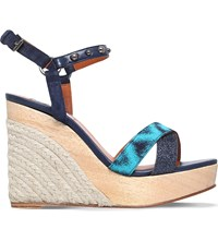 Lanvin Embellished Leather Wedge Sandals Turquoise