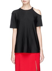Helmut Lang Cutout Shoulder Pima Cotton T Shirt Black