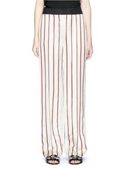 Lanvin Stripe Satin Wide Leg Pants White Multi Colour