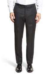 Men's Incotex Flat Front Solid Wool Trousers Dark Grey
