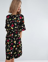 Warehouse Floral Shift Dress Black Pattern Multi