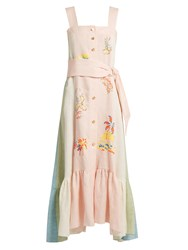 Peter Pilotto Embroidered Striped Linen Pinafore Dress Pink
