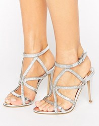 Faith Lohan Embellished Caged Heeled Sandals Silver