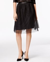 Kensie Tulle Faux Leather Contrast Skirt