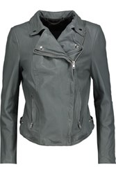 Muubaa Monteria Leather Biker Jacket Gray