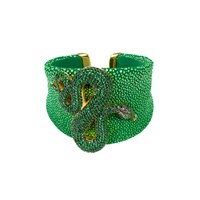 Latelita London Stingray Statement Snake Cuff Green Gold Green