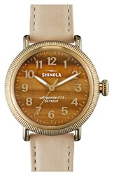 Shinola 'The Runwell' Leather Strap Watch 38Mm Winter White Tiger Eye