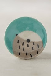 Anthropologie Peeking Bird Knob Blue Green