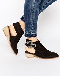 Glamorous Black Buckle Cut Out Western Boots Black