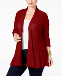 Ny Collection Plus Size Pointelle Knit Duster Cardigan Red Fox
