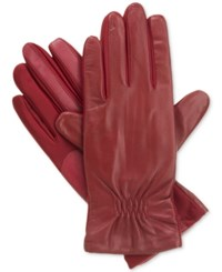 Isotoner Signature Isotoner Gathered Stretch Leather Tech Touch Gloves Really Red