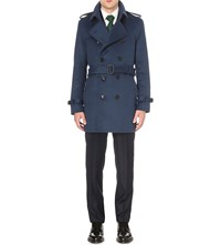 Burberry Modern Fit Wool And Cashmere Blend Trench Coat Bright Steel Blue