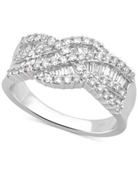Macy's Diamond Weave Style Statement Ring 9 10 Ct. T.W. In 14K White Gold
